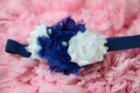 Shabby rose triple navy & white with a navy elastic headband - Pretty's Bowtique