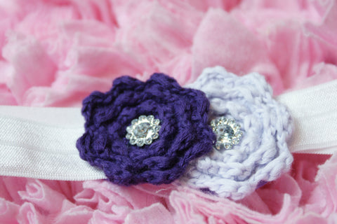 Knitted double flower with rhinestone embellishments Purple & Lilac on white elastic band perfect for newborns - Pretty's Bowtique
