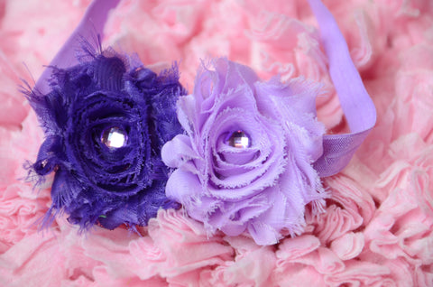 Shabby Rose Purple & Lilac Headband with rhinestone embellishment on a  light purple headband. - Pretty's Bowtique
