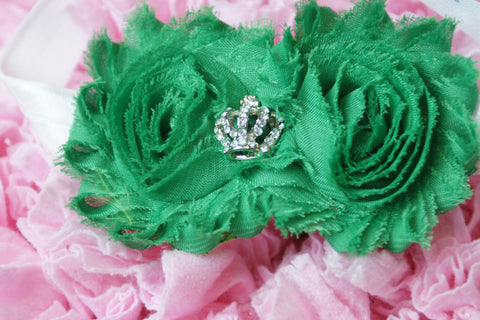 Shabby Rose Double flower Green with crown rhinestone center on white band - Pretty's Bowtique