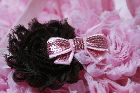 Shabby Rose Double flower pink and chocolate brown with sequin bow on a pink headband - Pretty's Bowtique