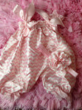 Girls Chevron Bubble Romper -- Girls Satin Romper-- Summer romper-- Baby girl outfit -- flower headband - Pretty's Bowtique