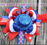 Fourth of July Bow Patriotic top hat bow 4th of July Bow - Pretty's Bowtique