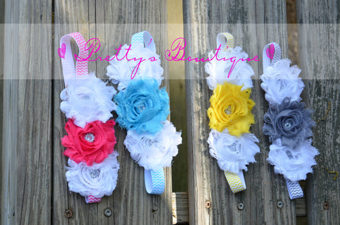 Shabby Rose triple flower headband you pick colors on chevron band