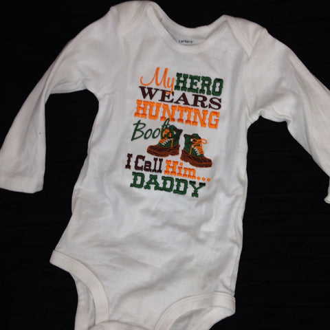 My hero wears hunting boots CUSTOM Listing - Pretty's Bowtique