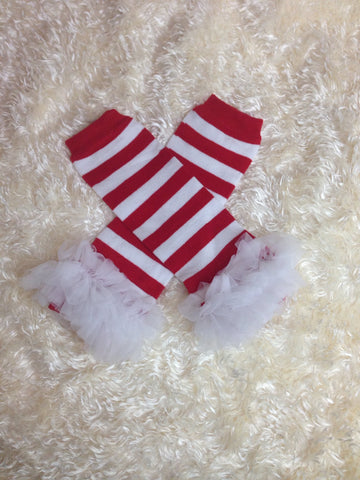 Leg Warmers-Baby leg warmers/Photo Prop red and white stripe ruffle - Pretty's Bowtique