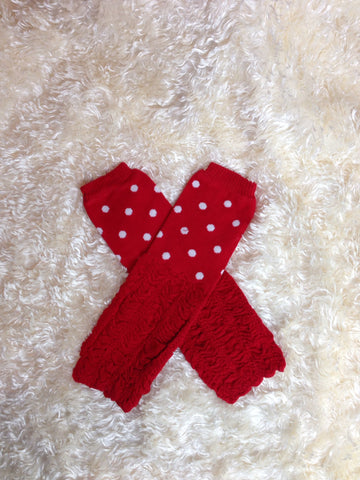Red Polka Dot Leg Warmers-Baby leg warmers/Photo Prop Polka dots and ruffles Red/White - Pretty's Bowtique