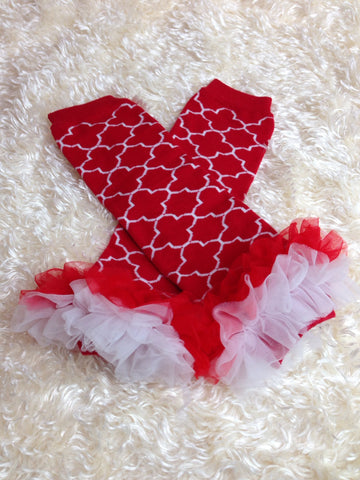 Leg Warmers-Baby leg warmers/Photo Prop and ruffles Red/White - Pretty's Bowtique