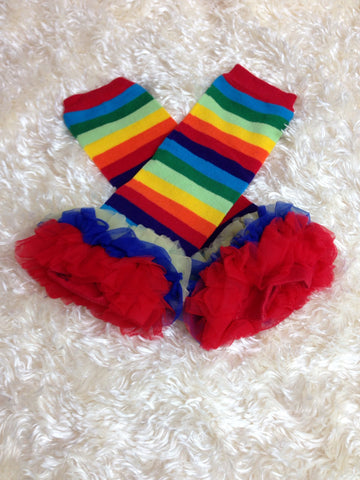 Leg Warmers-Baby leg warmers/Photo Prop and ruffles Stripe rainbow/ perfect for Candy land party - Pretty's Bowtique