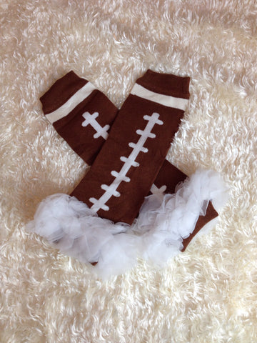 Leg Warmers-Baby leg warmers/Photo Prop and ruffles Football White - Pretty's Bowtique