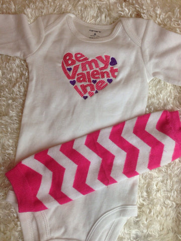 BE my VALENTINE shirt or one piece personalize no charge SET with Legwarmers - Pretty's Bowtique