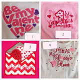 Valentine's Day SET  Ruffle Shirt and pant you pick design - Pretty's Bowtique