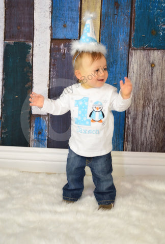 Boys winter birthday shirt -- Winter Wonderland birthday shirt adorable penguin can customize - Pretty's Bowtique
