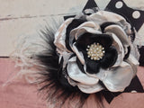 Black and white flower lace headbsnd  Stunning lace headband flowers, Black and white with pearls, lace, and rhinestones - Pretty's Bowtique