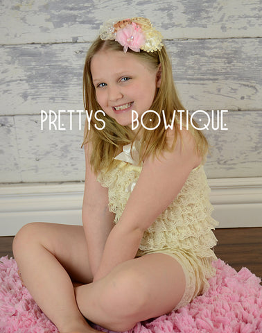 Lace Petti Romper in Cream Ivory in Baby, Toddler, & Girls Sizes - Pretty's Bowtique