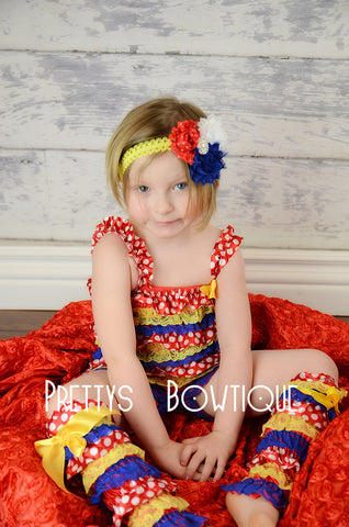 Lace Petti Romper in yellow, red, blue, and polka dot in Baby, Toddler, & Girls Sizes Circus - Pretty's Bowtique
