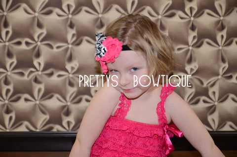 Lace Petti Romper in Hot Pink in Baby, Toddler, & Girls Sizes - Pretty's Bowtique