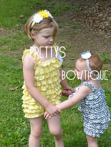 Lace Petti Romper in chevron Yellow or Gray in Baby, Toddler, & Girls Sizes - Pretty's Bowtique