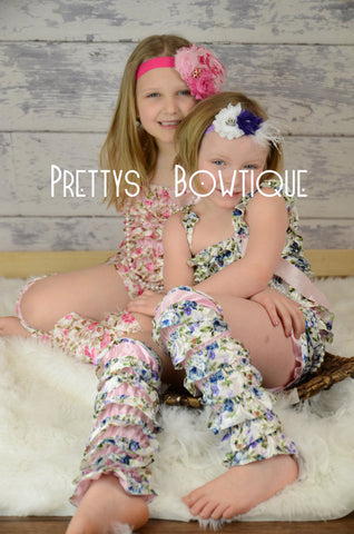 Lace Petti Romper Floral in pink or blue in Baby, Toddler, & Girls Sizes - Pretty's Bowtique