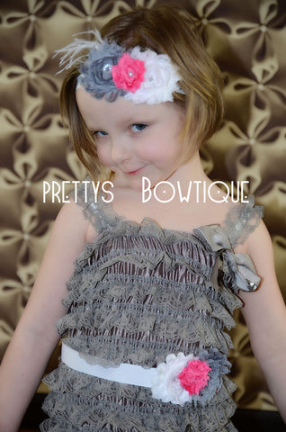 Lace Petti Romper in Gray in Baby, Toddler, & Girls Sizes - Pretty's Bowtique