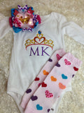 Girls Princess shirt-- princess birthday shirt-  princess monogram -- baby girl bodysuit- Princess shirt or bodysuit - Personalized shirt - Pretty's Bowtique