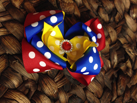 "Circus Theme bow.  Prefect for any carinval or circus theme 4"" - Pretty's Bowtique"