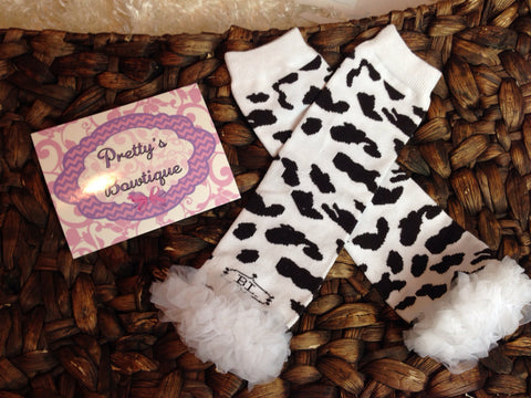 Cow print ruffled Leg Warmers-Baby leg warmers/Photo Prop COW PRINT - Pretty's Bowtique