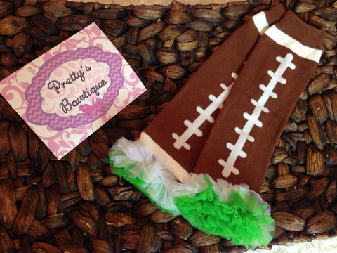 Football Leg Warmers-Baby leg warmers/Photo Prop and ruffles Football bright green and white - Pretty's Bowtique