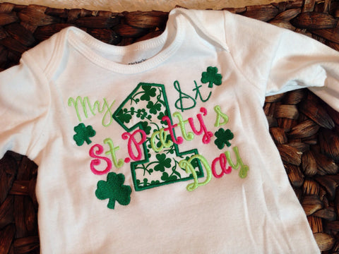 1st St. Patrick's Day shirt or bodysuit  -- My 1st St. Patty's Day shirt St. Patricks Shirt - Pretty's Bowtique