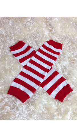 Red stripe Leg Warmers-Baby leg warmers/Photo Prop red and white stripe - Pretty's Bowtique