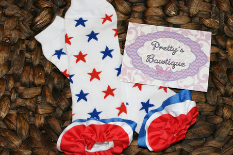 4th of July Stars America Fourth of July Leg Warmers-Baby leg warmers/Photo Prop STARS red white***SALE**** - Pretty's Bowtique