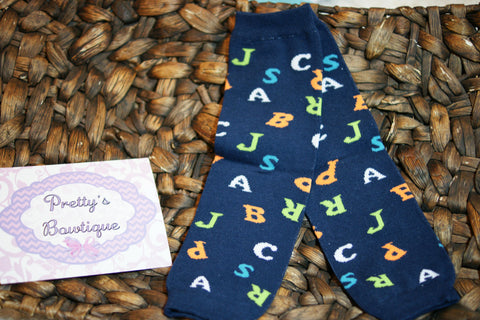 Boys abc Leg Warmers-Baby leg warmers/Photo Prop Navy ABC's - Pretty's Bowtique