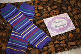 Baby legs Leg Warmers-Baby leg warmers/Photo Prop Purple mulit color stripe - Pretty's Bowtique