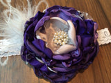 Over the top handmade flower headband flowers, Purples and Silver , lace, and rhinestones.  Perfect Photo Prop - Pretty's Bowtique