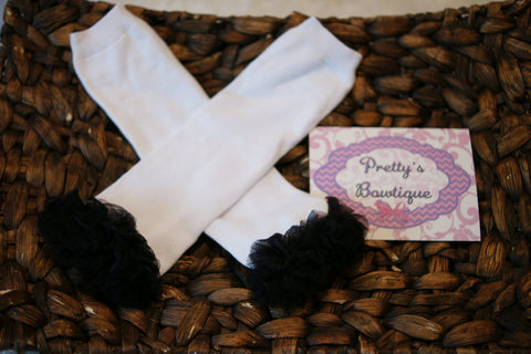 White and black Leg Warmers-Baby leg warmers/Photo Prop White with black ruffles - Pretty's Bowtique