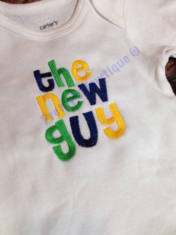 Baby boy bodysuit -- The New Guy -- coming home bodysuit - Pretty's Bowtique