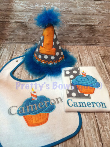 1st Birthday set. Hat, shirt or one piece , and bib. Can customize - Pretty's Bowtique