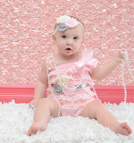 Flower headband can customize colors.  Shabby Rose triple flower headband pink, gray, and cream - Pretty's Bowtique