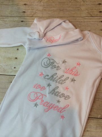FOR this Child I or WE have Prayed newborn gown. Listing is gown only - Pretty's Bowtique