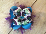 Over the top Peacock feathers, layered ribbon on a clip or headband. - Pretty's Bowtique