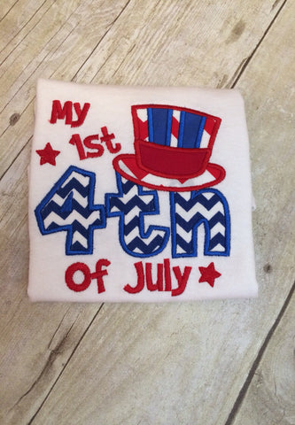 Babies 1st Fourth of July Shirt-- Baby Fourth of July bodysuit -- July fourth shirt-- My 1st Fourth of July -- Fourth of july one-piece - Pretty's Bowtique