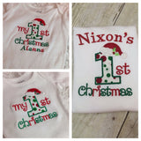 Baby 1st Christmas personalized bodysuit or shirt - Babies 1st Christmas Shirt - Pretty's Bowtique