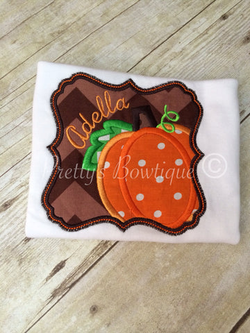 Girls Fall shirt -- Personalized Pumpkin Fall Shirt Can Customize fabrics and colors - Pretty's Bowtique