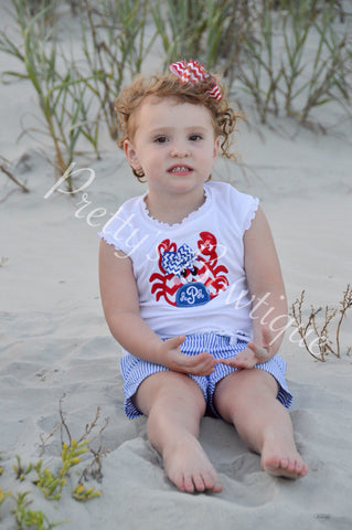 Girls summer monogram Crab shirt or bodysuit - Pretty's Bowtique