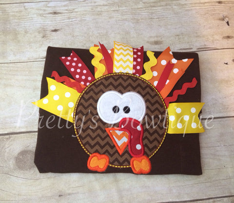 Girls First thanksgiving outfit - Thanksgiving girls shirt  babies, toddler, and children RIBBON turkey - Pretty's Bowtique