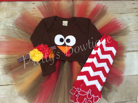 Turkey Outfit for Girls Sizes Newborn to XL 14 with Shirt or Bodysuit, Tutu, Leg Warmers and Headband (4 Pieces) - Pretty's Bowtique