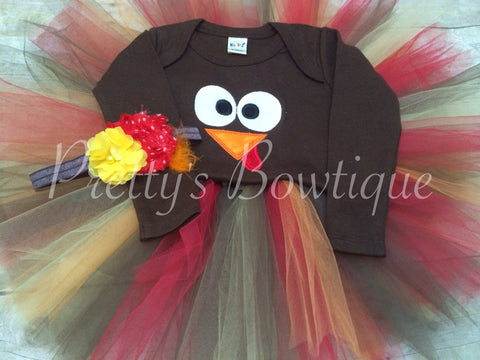 Girls thanksgiving outfit Turkey set turkey shirt or bodysuit, tutu and headband - Pretty's Bowtique