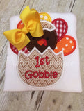 Girls My 1st thanksgiving bodysuit or shirt Thanksgiving  My 1ST Gobble baby girls - Pretty's Bowtique