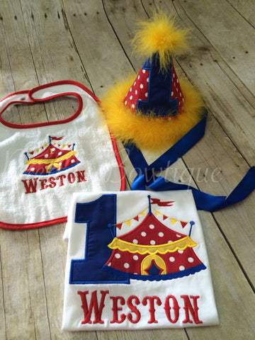 Circus Birthday Outfit Theme Set 1st Hat Shirt Or One