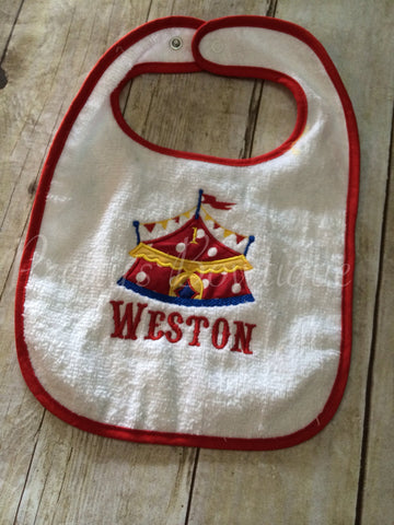 Birthday Circus bib~ Baby Boy Personalized Bib ~moustache bib ~  custom monogrammed bib ~ - Pretty's Bowtique